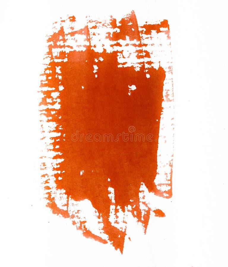 Les courses oranges de brosse d'aquarelle sur la texture approximative blanche empaquettent des WI illustration libre de droits
