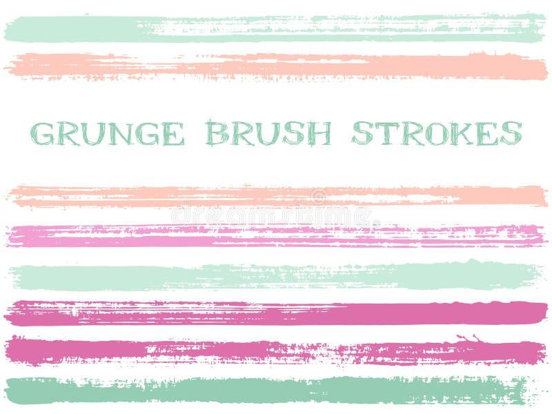 Les courses roses de brosse d'encre bleue ont isolé des éléments de conception Ensemble de lignes de peinture Rayures fraîches, f illustration libre de droits
