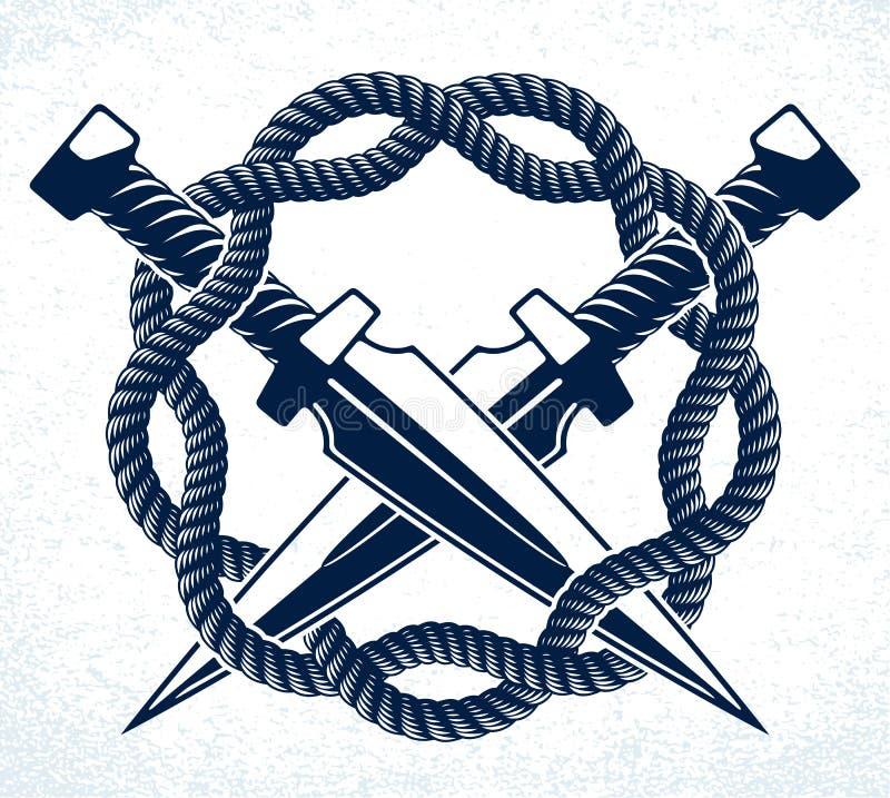 Les couteaux de poignard ont croisé le logo ou le signe de bande criminelle de vecteur illustration libre de droits