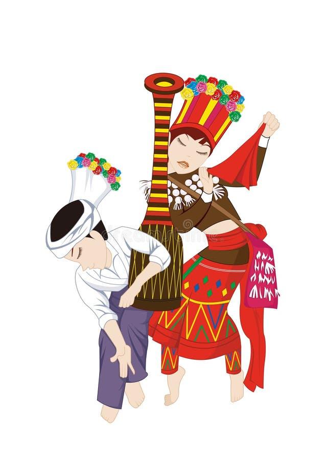Les coutumes de costumes et de gens du ressortissant chinois illustration libre de droits