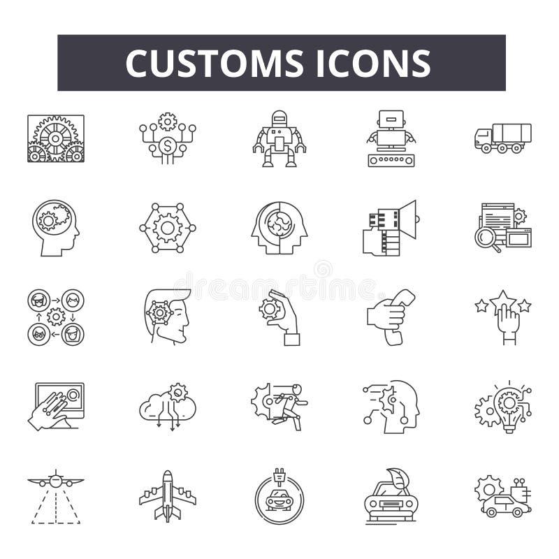 Les coutumes rayent des icônes, signes, ensemble de vecteur, concept d'illustration d'ensemble illustration libre de droits