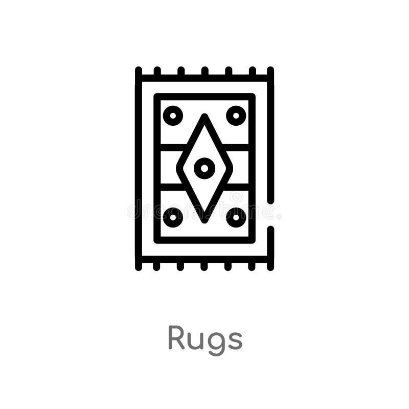 les couvertures d'ensemble dirigent l'icône ligne simple noire d'isolement illustration d'élément de concept de meubles et de mén illustration stock