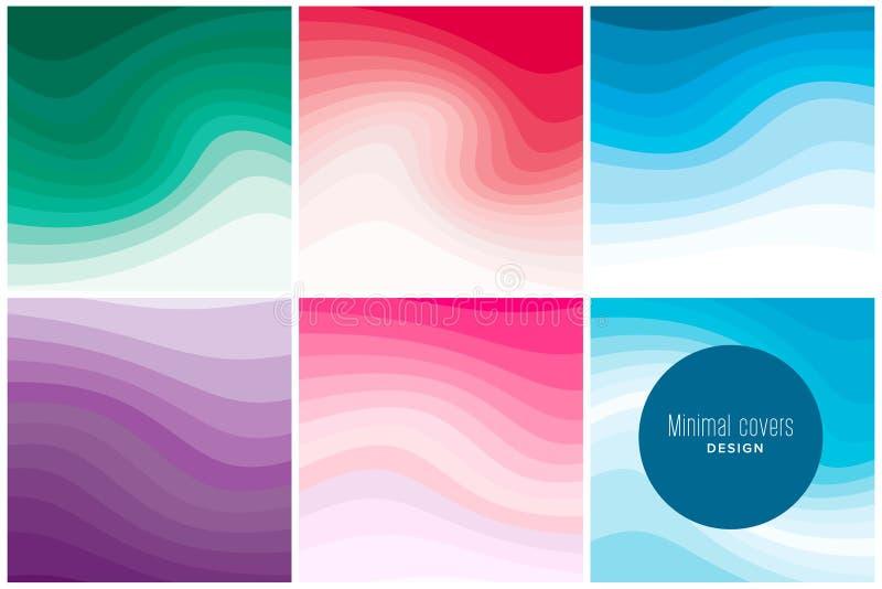 Les couvertures de papier modernes d'art avec le vrillage coloré forme Conception minimale à la mode Vecteur Eps10 illustration libre de droits