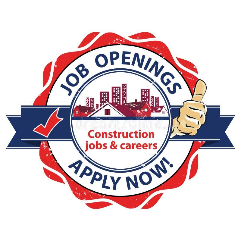 Les créations de nouveaux emplois - les travaux et des carrières des travaux de construction - s'appliquent maintenant ! La publi illustration libre de droits