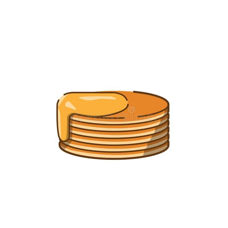 Les crêpes de miel dirigent le style plat d'icône d'isolement sur le fond blanc image libre de droits