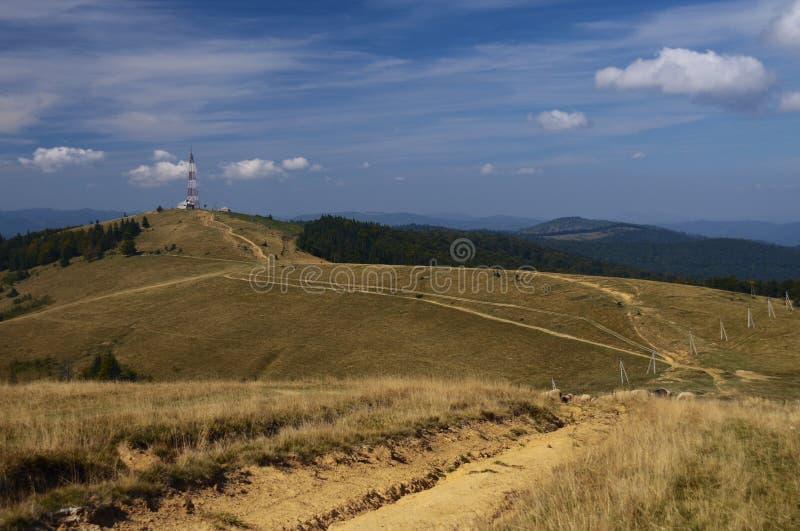 Les cr?tes en pierre des cha?nes de montagne des montagnes carpathiennes ukrainiennes de Hoverla couvertes de for?ts antiques de  photographie stock libre de droits