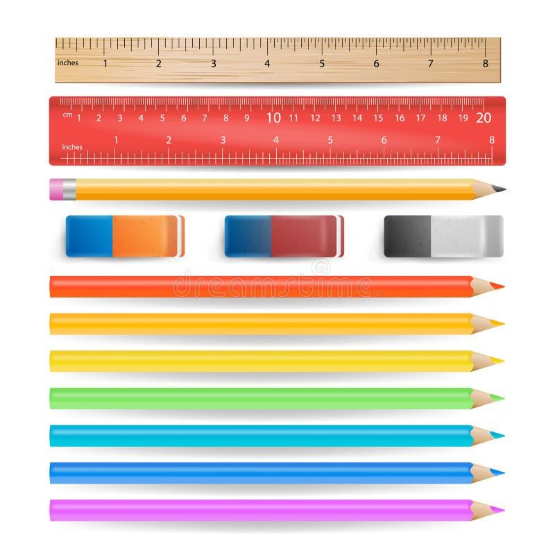 Les crayons colorés, gomme, règle de mesure ont isolé le vecteur réglé illustration stock