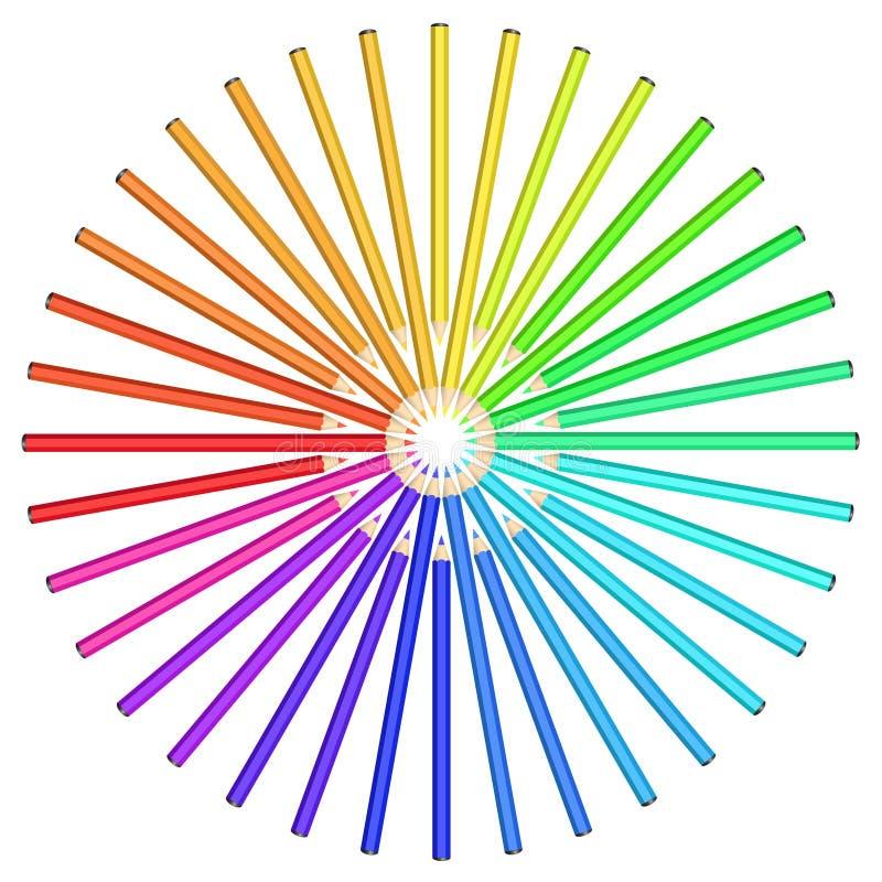 Les crayons colorés ont arrangé en cercle. illustration stock