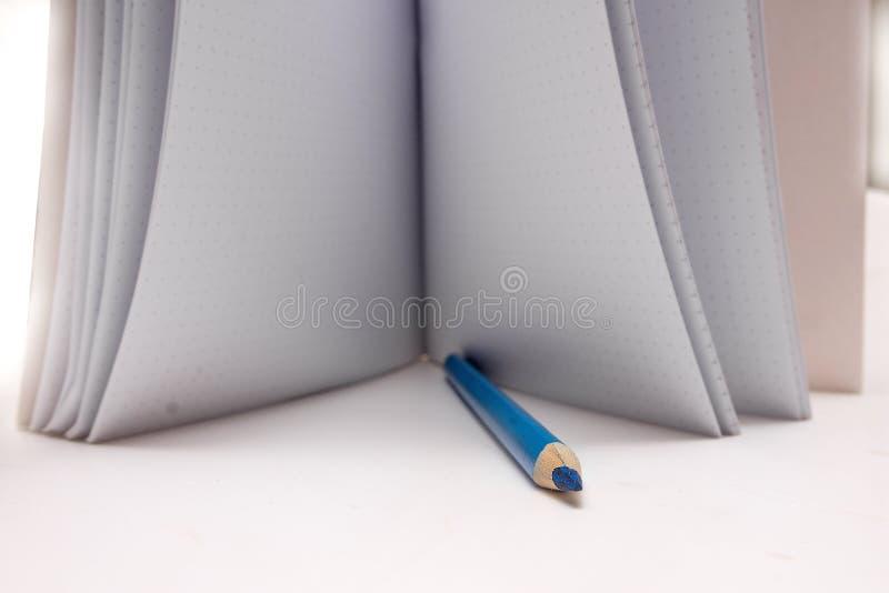 Les crayons colorés sont sur le carnet d'école Le carnet se trouve sur le bureau à l'école les enfants apprennent photographie stock