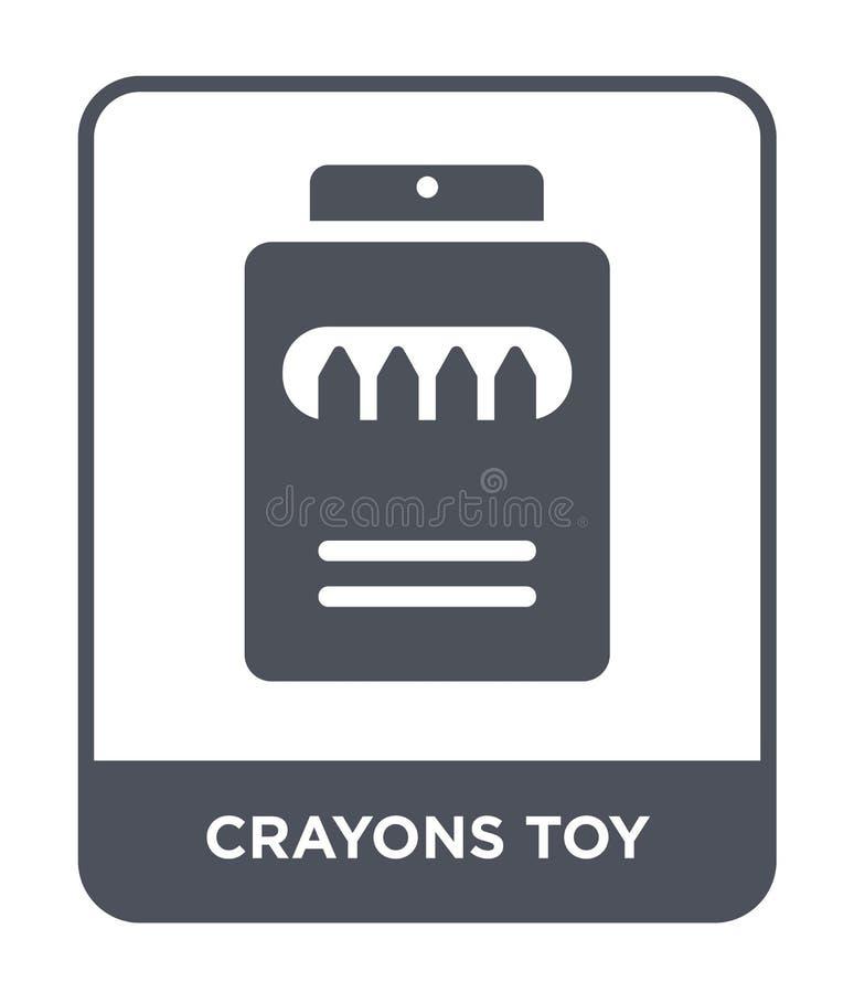 les crayons jouent l'icône dans le style à la mode de conception les crayons jouent l'icône d'isolement sur le fond blanc les cra illustration stock