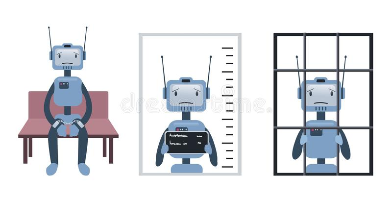 Les crimes commis par le robot et l'intelligence artificielle Robot sur le procès et derrière des barres Concept, vecteur illustration libre de droits