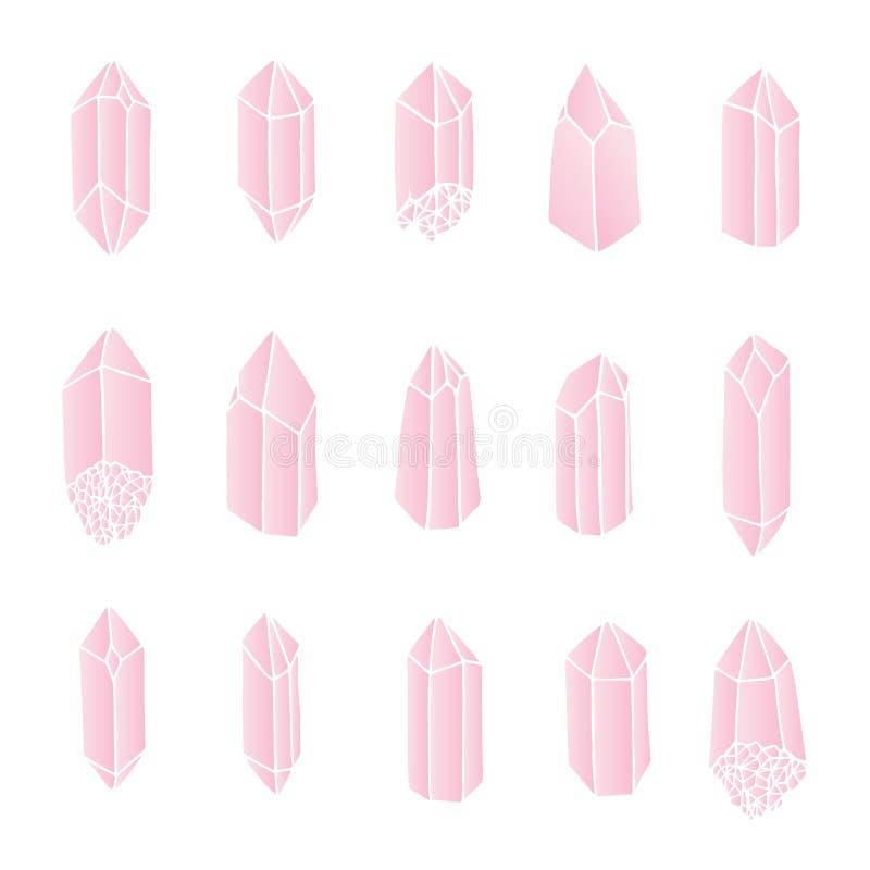 Les cristaux de quartz rose de vecteur ont placé d'isolement sur le fond blanc illustration libre de droits