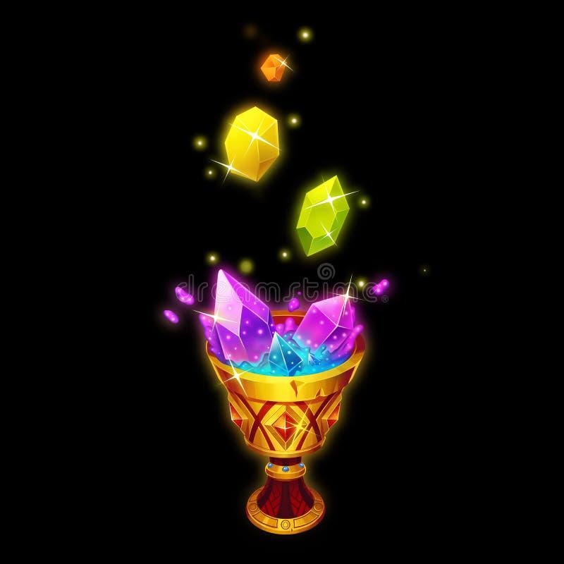 Les cristaux se dissolvent dans le Saint Graal Capitaux de jeu, objet de carte d'isolement sur le fond noir illustration de vecteur