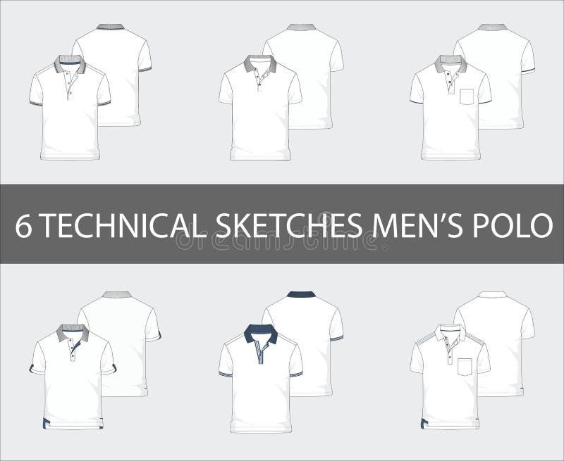 Les croquis techniques ont placé de la douille Polo Shirts de short du ` s des hommes illustration libre de droits