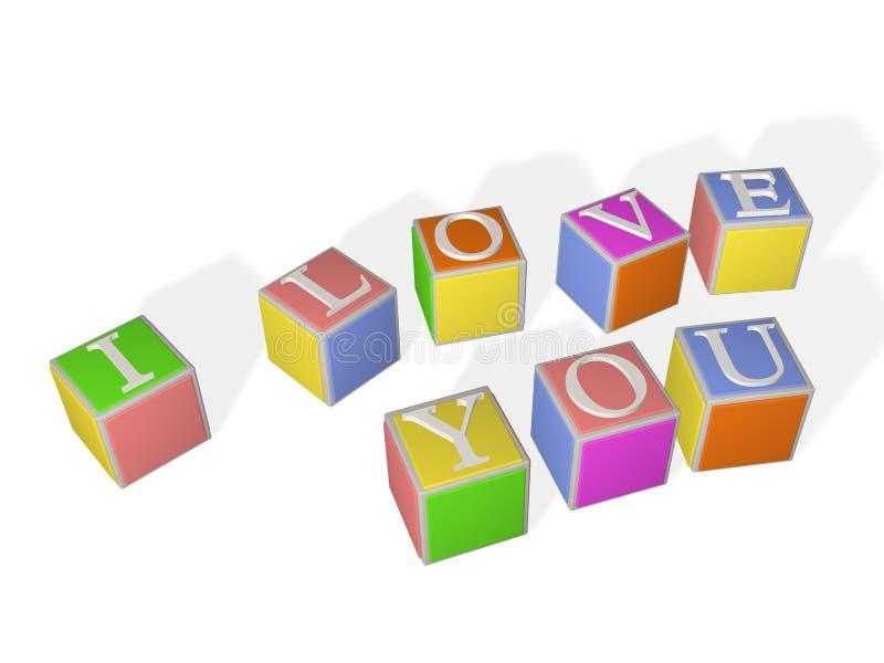 les cubes des enfants 3D multicolores avec des lettres illustration stock