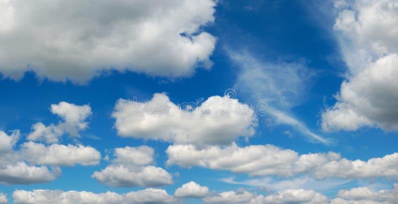 Les cumulus sur l'environnement panoramique de ciel bleu survivent image stock