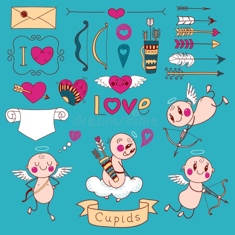 Les cupidons, les flèches, les coeurs et autre conçoivent des éléments illustration stock