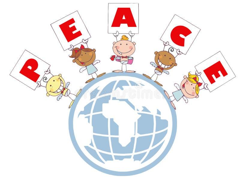 Les cupidons mignons de bâton retenant la paix se connecte un globe illustration de vecteur