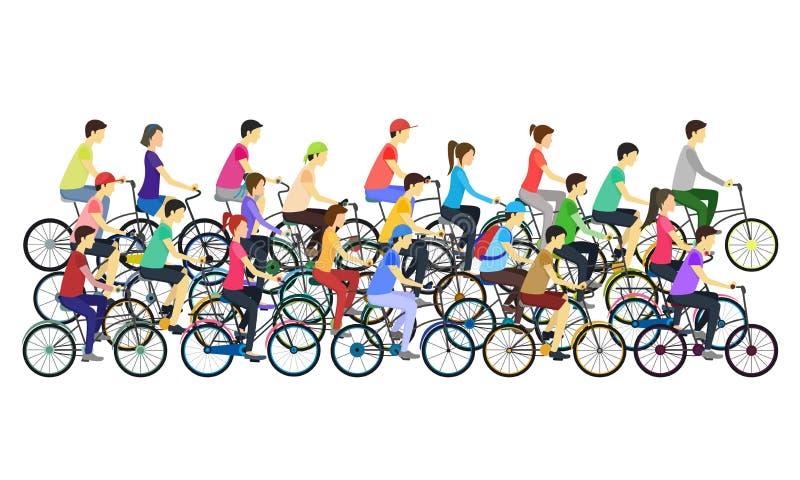 Les cyclistes de couleur de bande dessinée différents saisit la foule Vecteur illustration de vecteur
