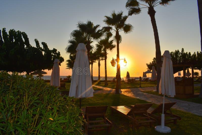 Les cyprusphos de coucher du soleil échouent image stock