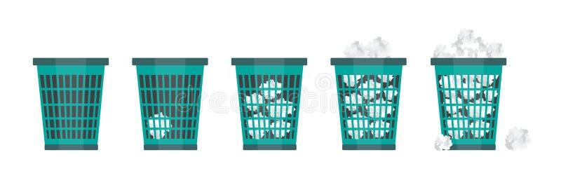 Les déchets de bureau de bande dessinée réutilisent la poubelle pour des déchets illustration de vecteur