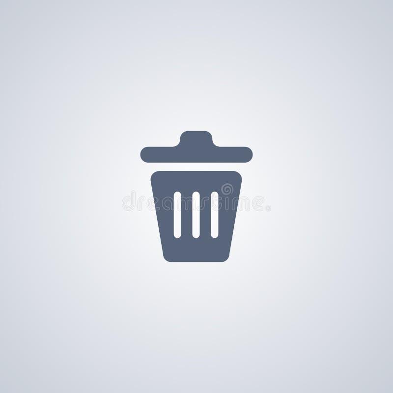 Les déchets, panier, dirigent la meilleure icône plate illustration libre de droits