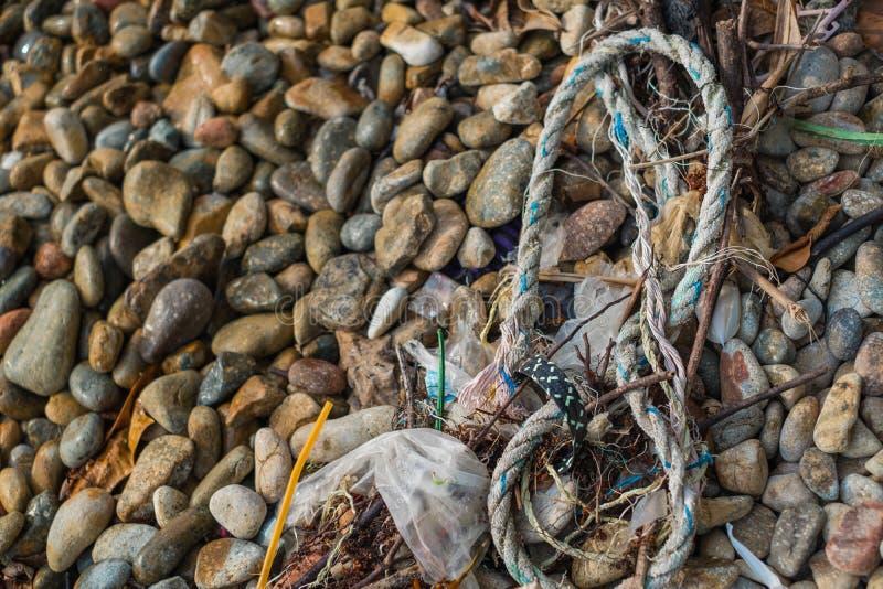 Les déchets plastiques sur la plage photos libres de droits