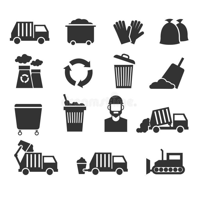 Les déchets réutilisent les icônes de rebut de vecteur de déchets illustration de vecteur