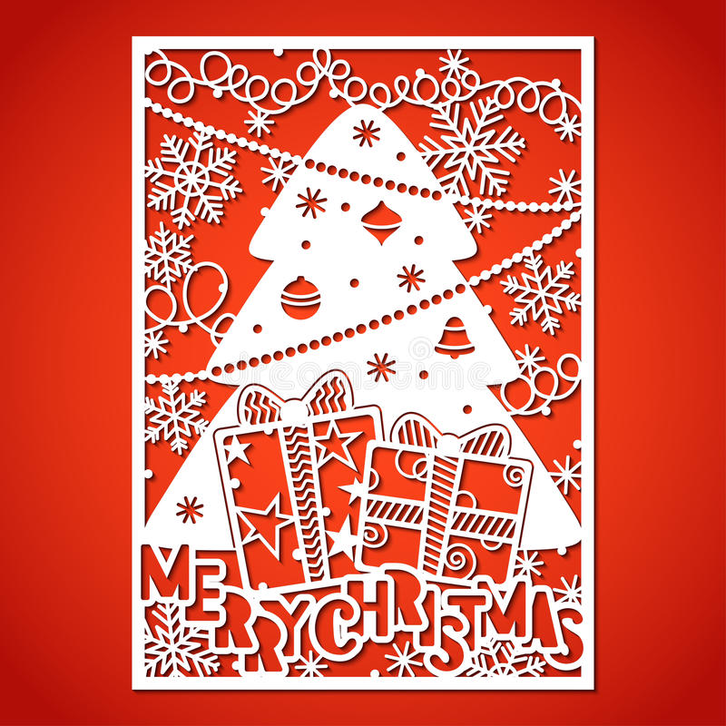 les décorations de Noël de fond ont isolé le blanc d'arbre Calibre de coupe de laser illustration stock