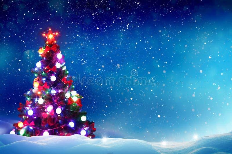 les décorations de Noël de fond ont isolé le blanc d'arbre photo libre de droits