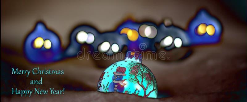 Les décorations de Noël s'allument pour la nuit illustration de vecteur