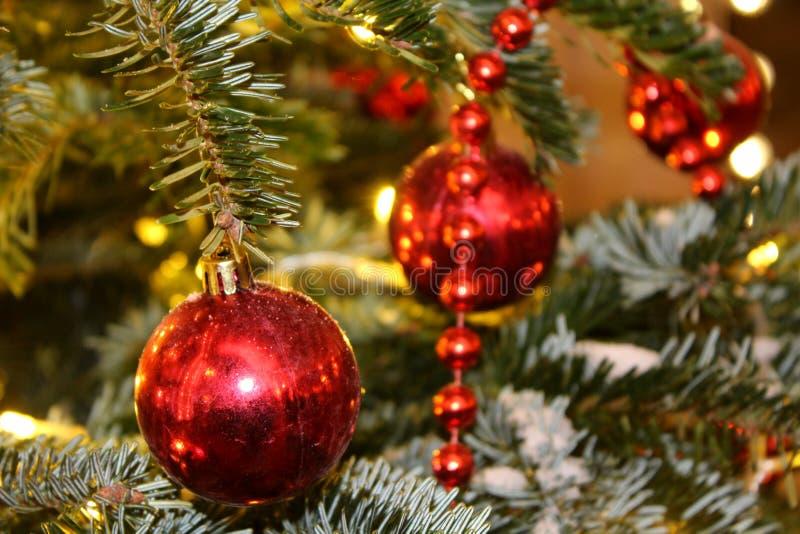 Les décorations de Noël sur l'arbre de Noël en rouge et or colore répandu avec des lumières, plan rapproché photos stock