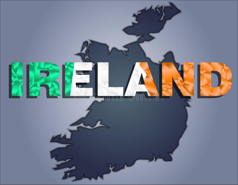 Les découpes du territoire du mot de l'Irlande et de l'Irlande dans les couleurs du drapeau national illustration stock