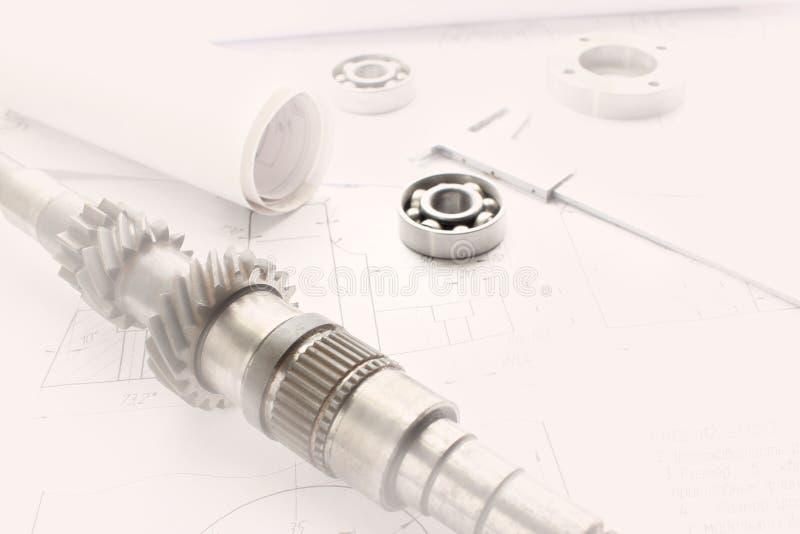 Les détails après traitement se trouve sur le dessin technique, prêt à travailler avec le dessin en industrie mécanique, vignette photo libre de droits