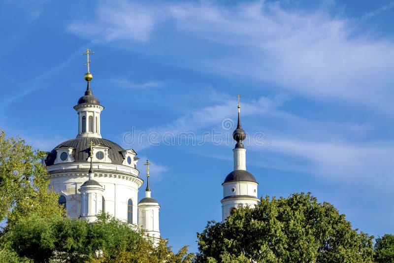 Les dômes de l'église chrétienne contre le ciel bleu et les arbres verts photos libres de droits