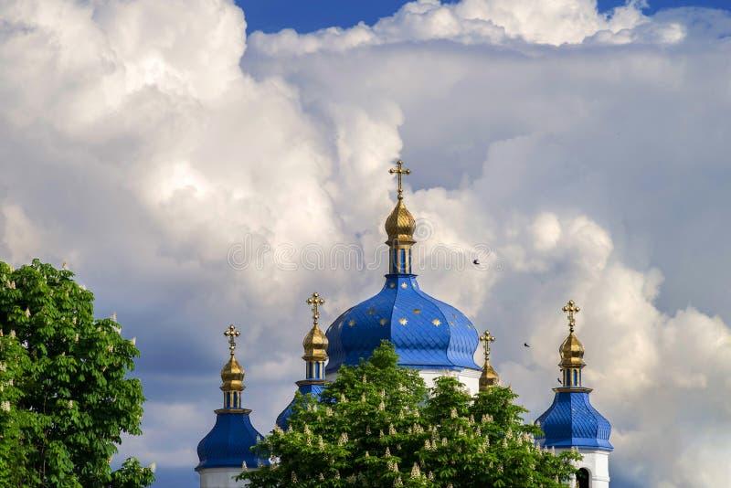 Les d?mes de l'?glise orthodoxe avec les ch?taignes de floraison sur le fond d'un beau ciel image stock