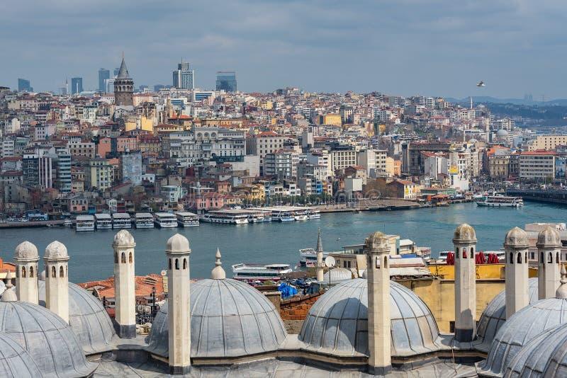 Les dômes de la mosquée de Suleymaniye, vue du détroit de Bosphorus, établie par Mimar Sinan, Istanbul, Turquie image stock