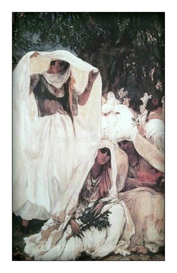 Les dames turques antiques dans un jardin illustration libre de droits
