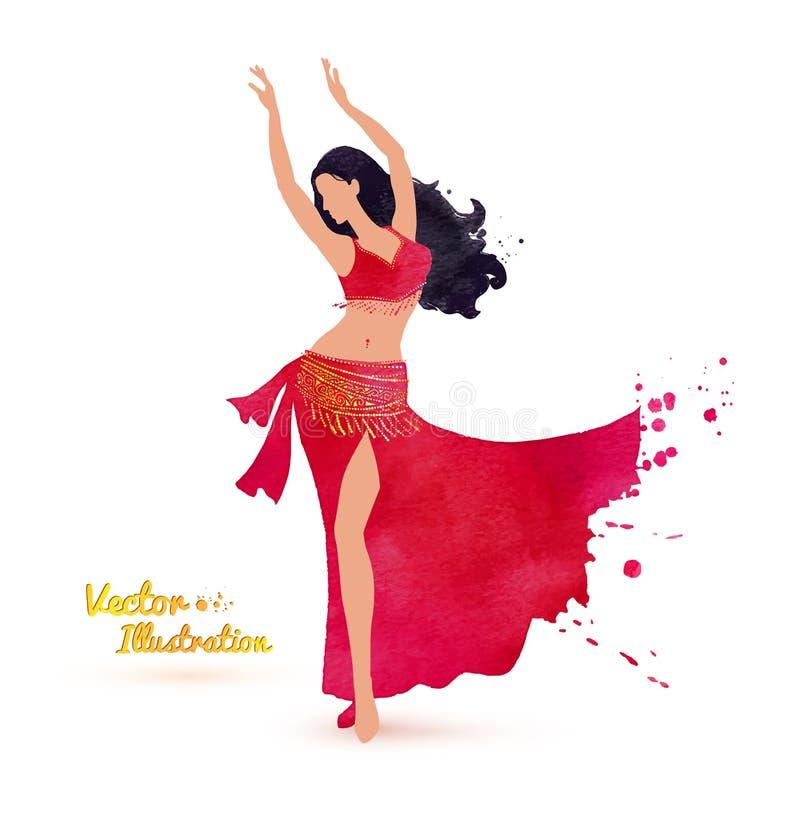 les danses attrayantes de danseur de danse de ventre préparent l'orange est de fille illustration libre de droits