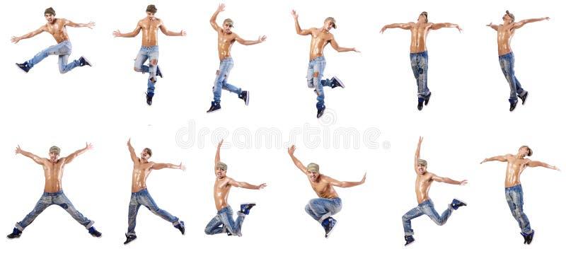 Les danses de danse de danseur d'isolement sur le blanc photographie stock
