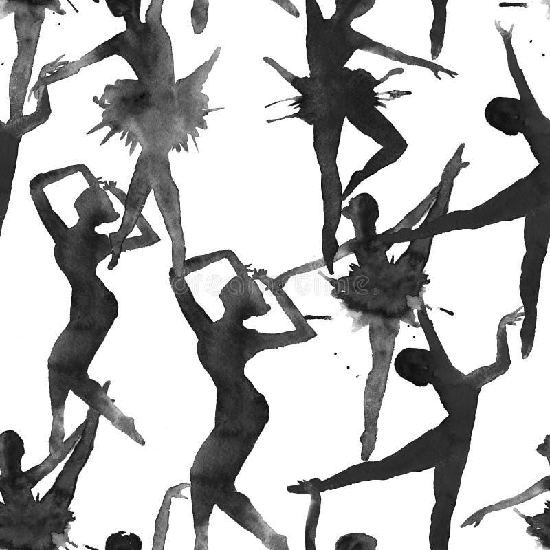 Les danseurs de fond Version monochrome watercolor illustration de vecteur