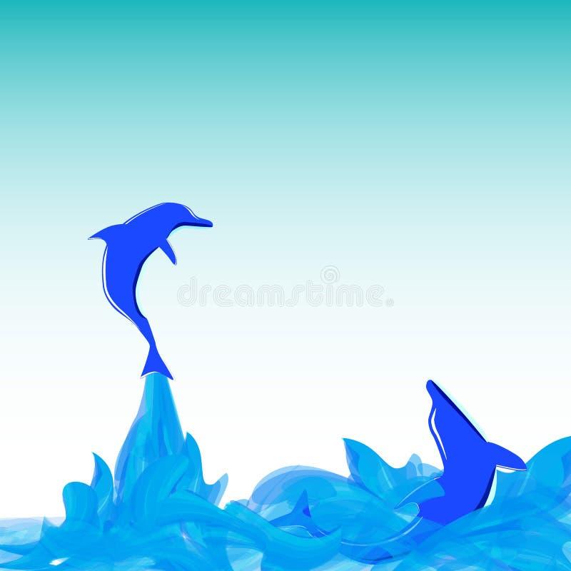 Les dauphins ont drôle en mer image stock