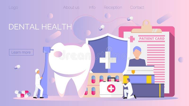 Les dentistes minuscules travaillent, traitent la dent de maladie Concept dentaire de vecteur de santé illustration stock
