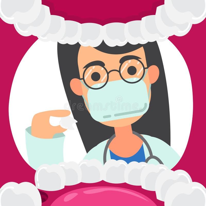Les dentistes tiennent l'examen oral d'outils d'examen dentaire de la perspective du patient avec des personnages de dessin animé illustration libre de droits