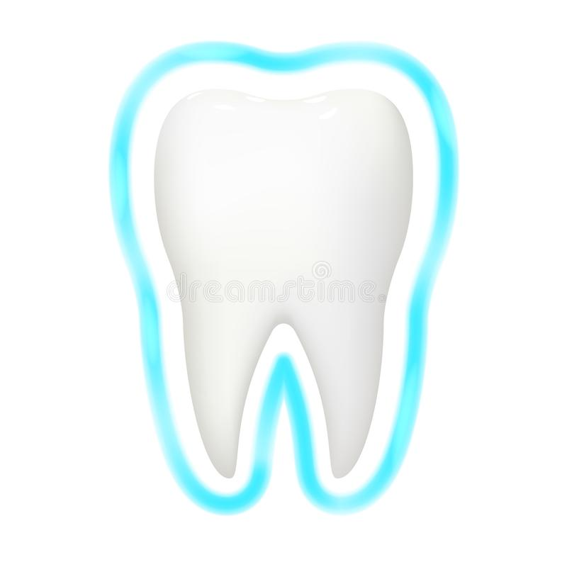 Les dents dentaires de la stomatologie 3d réaliste de lueur d'aura de protection de dent s'inquiètent l'illustration d'isolement  illustration stock