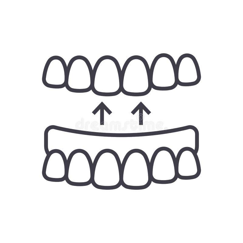 Les dents implantées dirigent la ligne icône, le signe, illustration sur le fond, courses editable illustration de vecteur