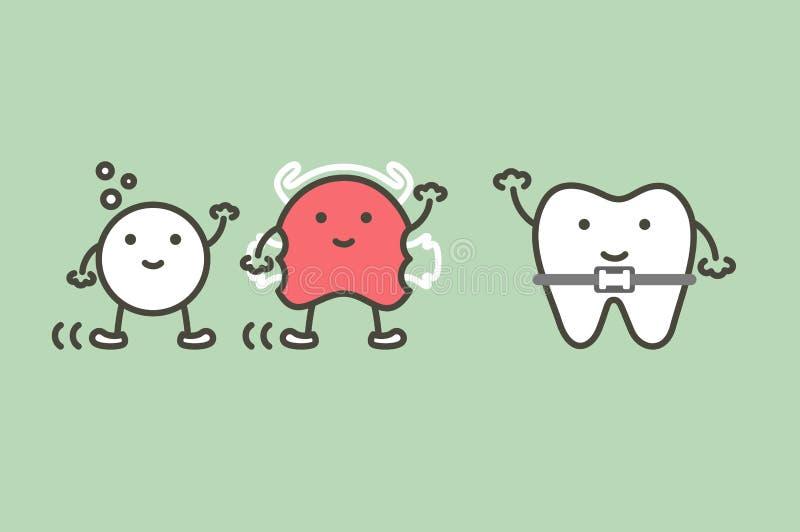 Les dents ou les bagues dentaires et l'ami orthodontiques heureux ont l'arrêtoir et le comprimé effervescent illustration de vecteur