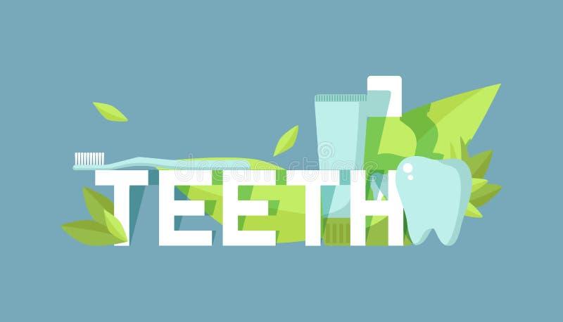 Les dents s'inquiètent l'illustration de vecteur de bannière Dent saine sous la protection avec l'effet rougeoyant, dents blanchi illustration stock