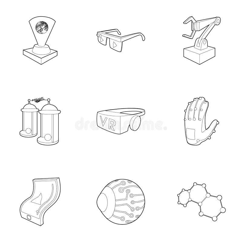 Les dernières icônes de dispositifs d'ordinateur placent, décrivent le style illustration de vecteur