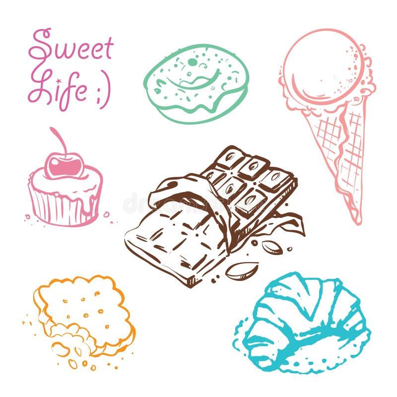 Les desserts doux gribouillent l'ensemble d'illustrations de vecteur illustration de vecteur